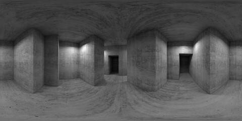 Abstract empty concrete room interior, 360 panorama