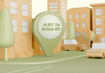 Cartoon City with Map Pointer Mockup