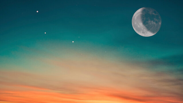 Sky background image at sunrise with moon