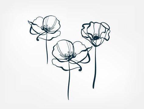 flower line one art isolated vector illustration
