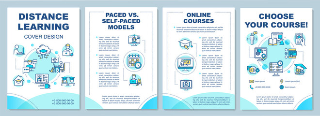 Distance learning brochure template. Paced and self paced education. Flyer, booklet, leaflet print, cover design with linear icons. Vector layouts for magazines, annual reports, advertising posters