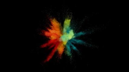 Fototapete - Super slow motion of coloured powder explosion isolated on black background. Filmed on high speed cinema camera, 1000fps.