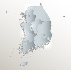 South Korea map, Republic of Korea, administrative division, white blue card paper 3D blank