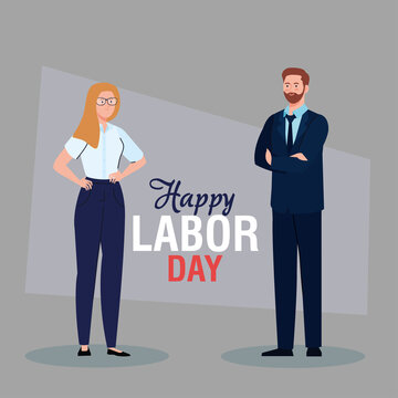 labor day poster, with business couple