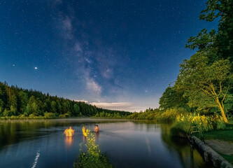 Swimming people at night under the impressive milky way, with stars reflection in the lake