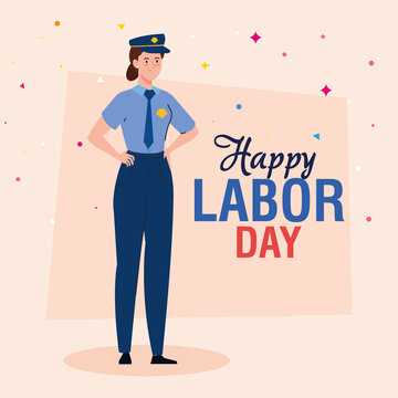 labor day poster, with woman police worker