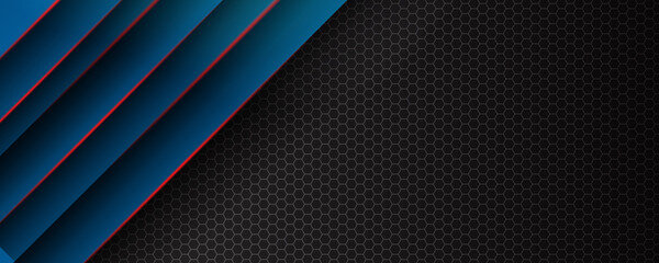 Abstract blue red black metal wide banner background with lines. illustration technology.