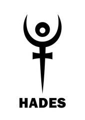 Astrology Alphabet: PLUTO (Hades), dwarf planet / planetoid. Astrological character, mystic hieroglyphic sign, modern modified symbol (meaning cap of invisibility and bident, or the staff of Hades).