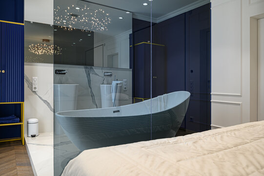 Big deluxe elegant classic bedroom with bath