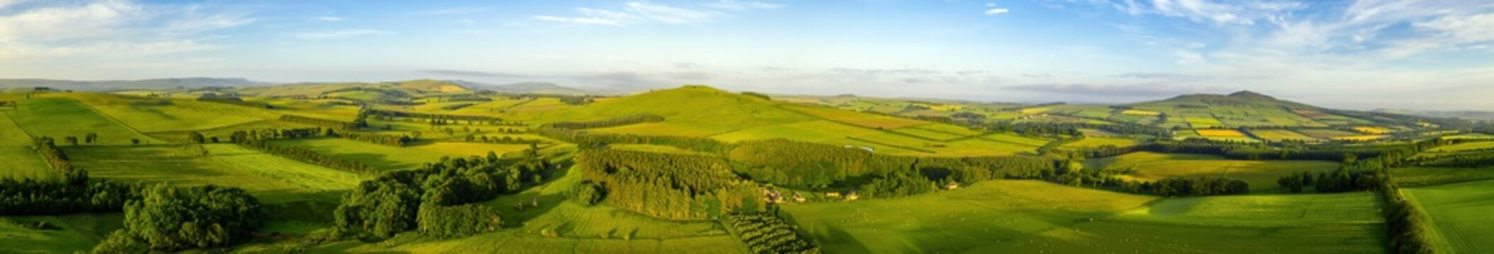 Aerial panorama of a Scottish Borders skyline
