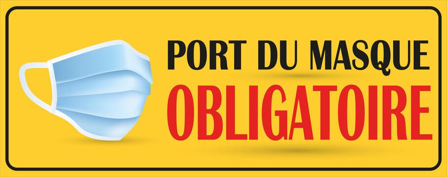 affiche pour le masque obligatoire dans cet endroit en noir et rouge avec un masque sur un fond jaune