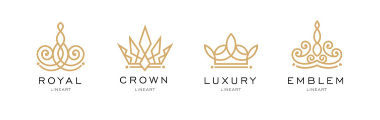 Set of crown logo templates. Vector crown design for business company, hotel, boutique, restaurant, invitation, jewellery, letter. Hipster, winner logo. Award event. Real estate. Monogram design.