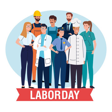 labor day poster with people group different occupation and ribbon decoration