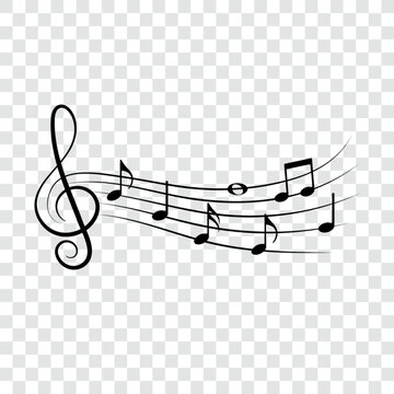 Music notes, doodle style, musical design element, vector illustration.