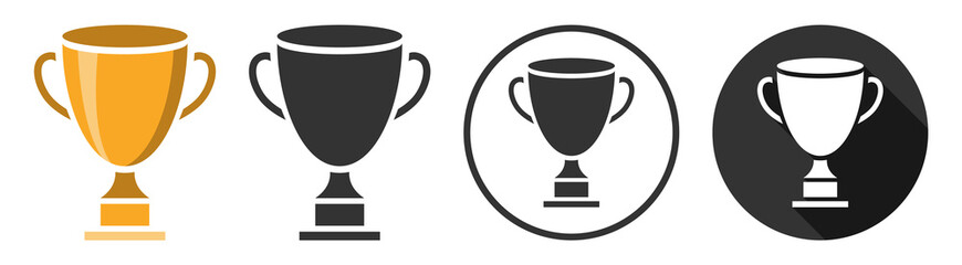 Trophy goblet cup icon symbol flat design vector