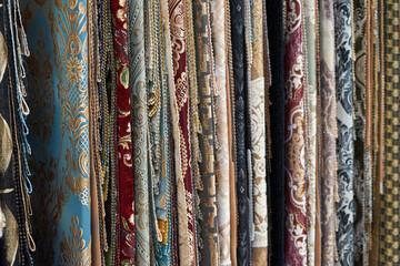 Foto auf Acrylglas Huhn Image of various furniture fabrics.