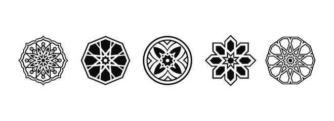 Vector ethnic oriental circle ornament. Vector geometric pattern design. Arabic ornament style. Mosque decoration element. Vector Illustration