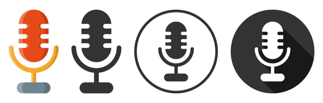 Microphone audio sound icon symbol flat design vector