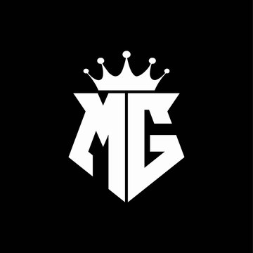 mg logo monogram shield shape with crown design template