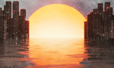 3D Rendering of sunset with city buildings and reflection on wet street puddles. For car or product advertising background