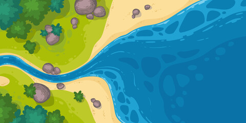River flow into sea or pond top view, cartoon narrow riverbed going to wide water with rocks, grass and bushes on coastline. Summer landscape, beautiful valley, scenic stream, vector illustration