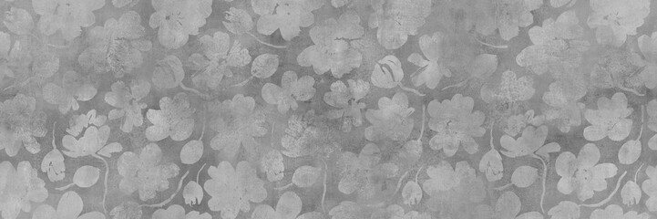 old cement texture with floral seamless pattern background