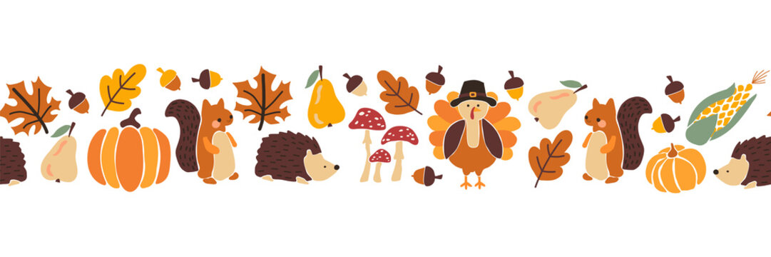 Thanksgiving animals kids vector border. Seamless pattern autumn leaves turkey corn pumpkin hedgehog, squirrel. Harvest festival. Fall party invitation banner. Happy Thanksgiving card decor, footer