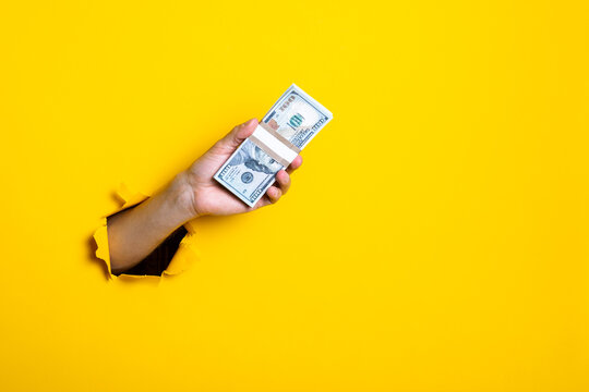 Female hand holding pack of money on a yellow background