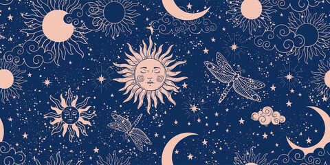 Obraz Seamless blue space pattern with sun, crescent and stars on a blue background. Mystical ornament of the night sky for wallpaper, fabric, astrology, fortune telling. Vector illustration - fototapety do salonu