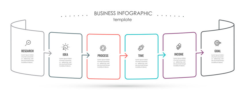 Business Infographic template. Thin line design with icons and 6 options or steps.