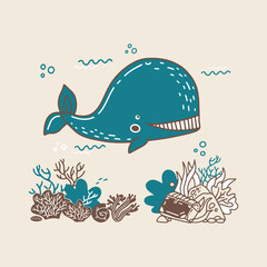 illustration in hand drawn doodle style with little jellyfish and whale