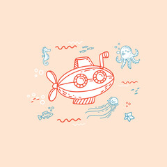 illustration with little submarine and sea creatures and animals