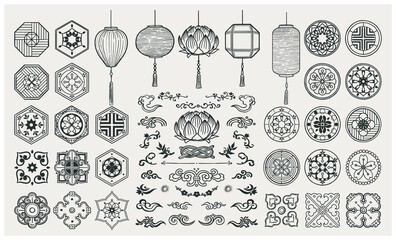 Set of hand drawn oriental elements. Asian lanterns and traditional patterns.