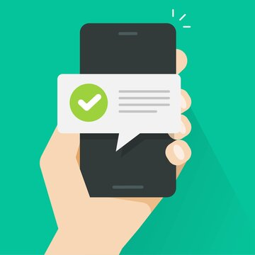 Push notice notification message on mobile phone person, smartphone cellphone sms speech bubble with updated checkmark tick and text vector flat cartoon, digital update completion or accepted alerts