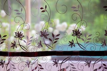 Foto auf Acrylglas Schmetterlinge im Grunge floral background with butterflies