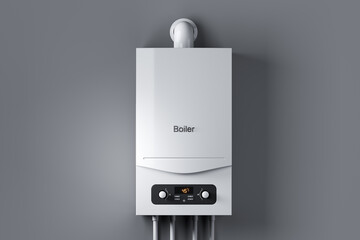 White gas water boiler on wall.