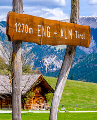 Wall Mural - old sign at the eng alm in austria