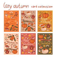 Set of 6 postcards of a cozy autumn. Vector graphics.