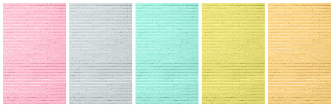 2D Illustration - Abstract Plain Cover Background Set with colored brick wall surface - five 10:16 Images ( Size each: 2000 x 3200 ) - e.g. for book / ebook cover design