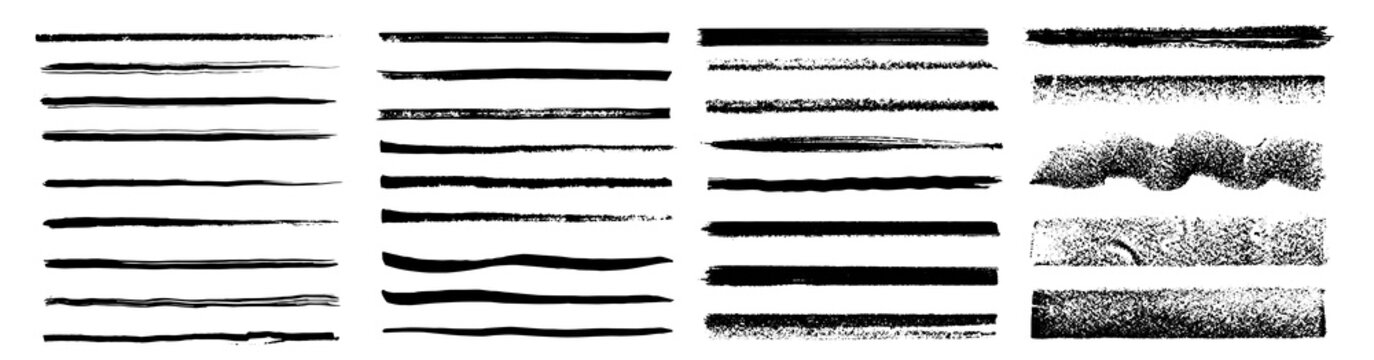 Set of artistic pen brushes. Vintage doodle underlines. Hand drawn grunge strokes. Scribble marker borders, sketch underlines.  Set of black strokes. Ink brush drawing. Isolated. Vector illustration