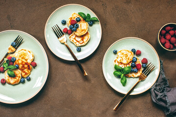 Pancakes with summer berries served for a breakfast