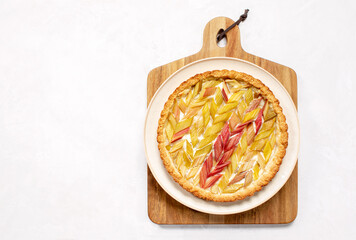 Rhubarb open faced round pie, overhead view
