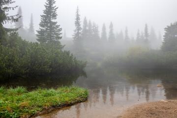 Fototapeta górski staw w gęstej mgle