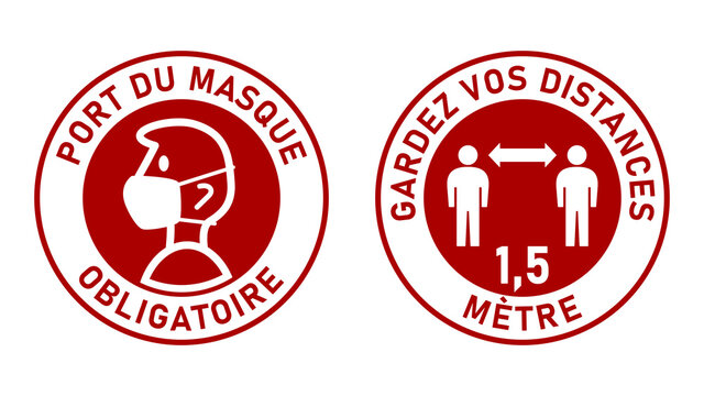 """Set of Round Sticker Signs against Coronavirus in French """"Port Du Masque Obligatoire"""" (Face Masks Required) and """"Gardez Vos Distances 1,5 Metre"""" (Keep Your Distance 1,5 Meters). Vector Image."""