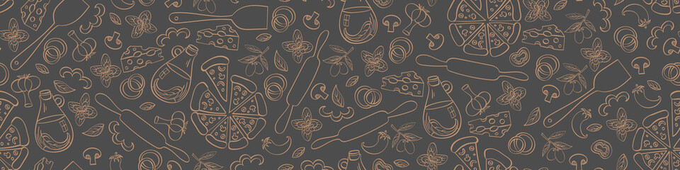 Pizza seamless web banner. Doodle food objects isolated on grey background. Vector illustration.