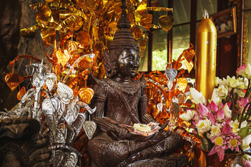 Sacred statue in the temple on Mount Phnom  Kulen.