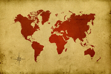 Red world map on old paper parchment background