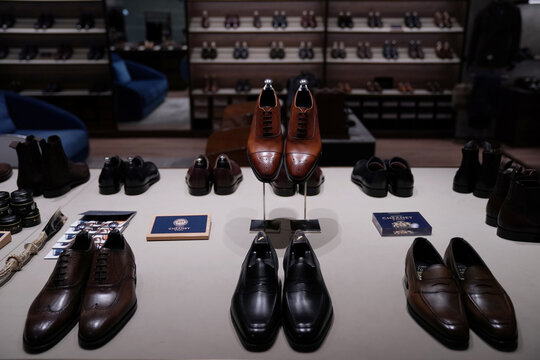 Handmade leather shoes are displayed at the Medallion store, following the coronavirus disease (COVID-19) outbreak, in Beijing