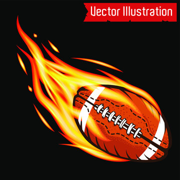 Vector flying flaming American football ball on a black background. Isolated vector illustration. Sports emblem. Orange leather ball on fire. High school league, college. Tshirt design, tee graphics.