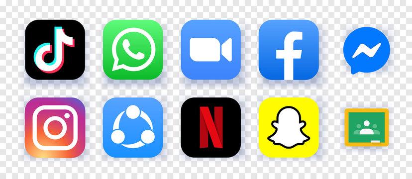 The most downloaded mobile apps of 2020. Set icons TikTok, WhatsApp, ZOOM, Facebook, Maessenger, Instagram, SHAREit, Netflix, Snapchat, Google Classroom